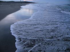 写真:早朝の中田島海岸に打ち寄せる波の画像