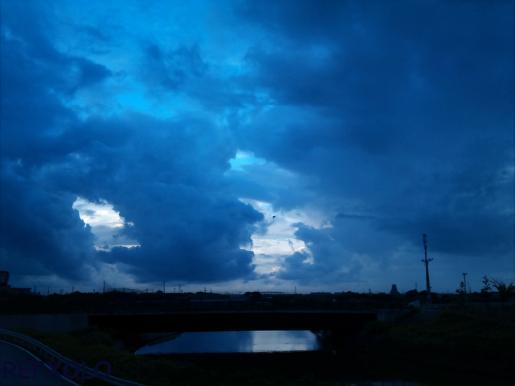 青い雲に鳥が飛ぶ
